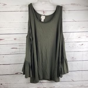 Chicos Cold Shoulder Olive Green Blouse Size 12